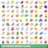 100 paying money icons set, isometric 3d style Royalty Free Stock Photography