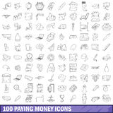 100 paying money icons set, outline style Royalty Free Stock Photo