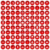 100 paying money icons set red. 100 paying money icons set in red circle isolated on white vector illustration Stock Images