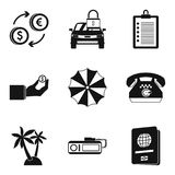 Paying money icons set, simple style. Paying money icons set. Simple set of 9 paying money vector icons for web isolated on white background Royalty Free Stock Images