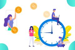 Paying money for time and work, concept of earning/doing money, group of people working vector illustration