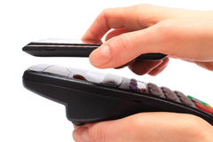 Paying with NFC technology on mobile phone Royalty Free Stock Images