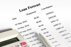 Paying off a Loan Schedule Forecast Stock Photo
