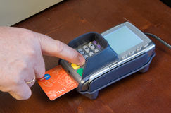 Paying at pin machine Stock Photography