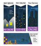 Paying rent on-line banners Stock Photo