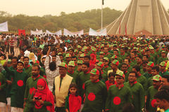 After paying respect to national memorial in bangladesh people are going back. Every year in 26 march national independence day is celebrated in Bangladesh Stock Image