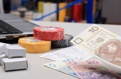Paying for shopping in an electrical shop Stock Photos