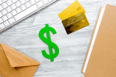 Paying for studing concept with dollar sign and cards on light table background top view mock-up Stock Photo