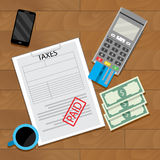 Paying tax web transaction. Payment financial, vector illustration Royalty Free Stock Photos