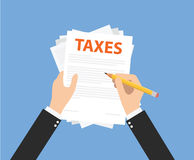 Paying taxes. And calculate all the document for taxes royalty free illustration