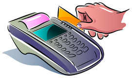 Paying using card. Paying using credit card illustrated clip art royalty free illustration