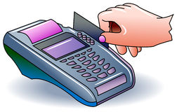 Paying using credit card. Illustrated clip art stock illustration