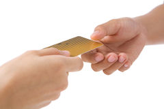 Paying using gold credit card Stock Image