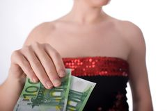 Paying a woman Royalty Free Stock Photo