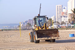 Payloader Working on Beach in Durban South Africa Stock Photos