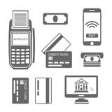 Paymants and banking vector black icons. And design elements isolated on white background Royalty Free Stock Image