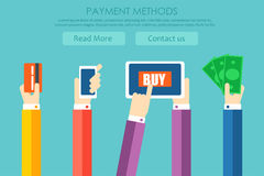 Paymen methods banner. Hands pay for the goods, with the help of cash, phone, card Royalty Free Stock Photo