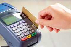 Payment. Close-up of moment of payment by credit card Stock Photography