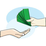 Payment. Cartoon illustration showing a hand giving money and an open hand accepting it Stock Image