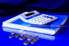 Payment 3. Office set up with calculator and money on the table Royalty Free Stock Photo