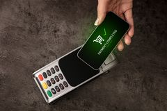 Payment accepted on terminal stock photo
