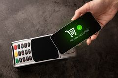 Payment accepted on terminal. Mobile payment accepted on terminaln royalty free stock images