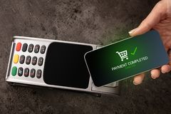 Payment accepted on terminal. Mobile payment accepted on terminaln royalty free stock photos