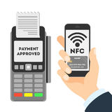Payment approved concept. NFC concept. Man paying with smartphone Royalty Free Stock Photo
