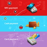 Payment Banners Set. Payment horizontal banners set with realistic cash and card elements isolated vector illustration Stock Photography