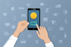 Payment by Bitcoins. Pay for goods and services by crypto currency. Payment service international transfers Royalty Free Stock Photos