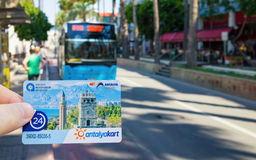 Payment card Antalyakart for public transport in Antalya, Turkey Royalty Free Stock Photography