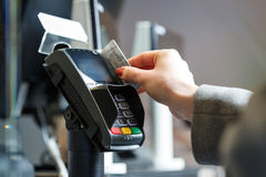 Payment with a card terminal Stock Images