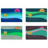 Payment cards with sun over sea Royalty Free Stock Images