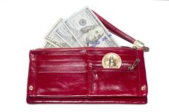 Payment by cash or electronic money. Dollars and bitcoin royalty free stock images