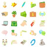 Payment by cash icons set, cartoon style Royalty Free Stock Images