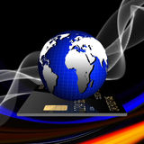 Payment concept. Internet Banking. Credit card with globe Stock Photo