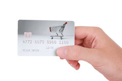 Payment with credit card. Cashless payment - credit card hold in right hand Royalty Free Stock Photos