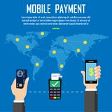 Payment with credit card  on mobile banking app at around the world. Financial app, online banking. finger touching screen. Vector. Illustration Royalty Free Stock Photo