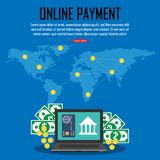Payment with credit card  on online banking app. Payment with credit card  on online banking app at around the world. Financial app, online banking.Vector Royalty Free Stock Images
