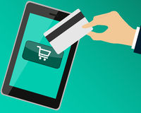 Payment by Credit Card. When shopping over the Internet. Vector illustration Stock Photos