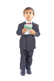 Payment Day. Boy with formal clothes holding some euros currency Stock Photo