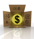 Payment in dollar for ordered goods delivery Stock Photo
