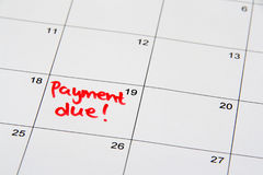 Payment Due. Reminder on the calendar of a due payment Royalty Free Stock Photos
