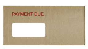 Payment Due. Envelope with payment due in red letters Royalty Free Stock Photo