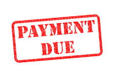 PAYMENT DUE. `PAYMENT DUE` Red Stamp over a white background Stock Photos