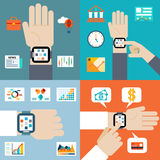 Payment and financial news via smart watch Stock Photo