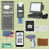 Payment flat icon set Stock Image