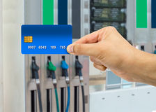 Payment at the gas station with credit card Stock Photography