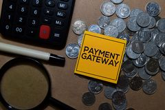 Payment Gateway write on sticky notes isolated on Office Desk