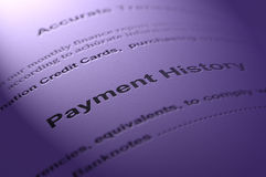 Payment history. Payment history document on textured paper Royalty Free Stock Images
